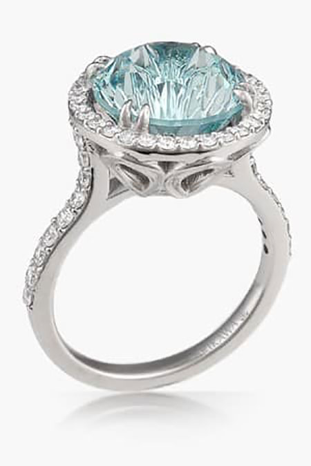 Luxury large center stone engagement ring