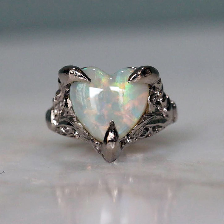 Opal Heart Engagement Rings