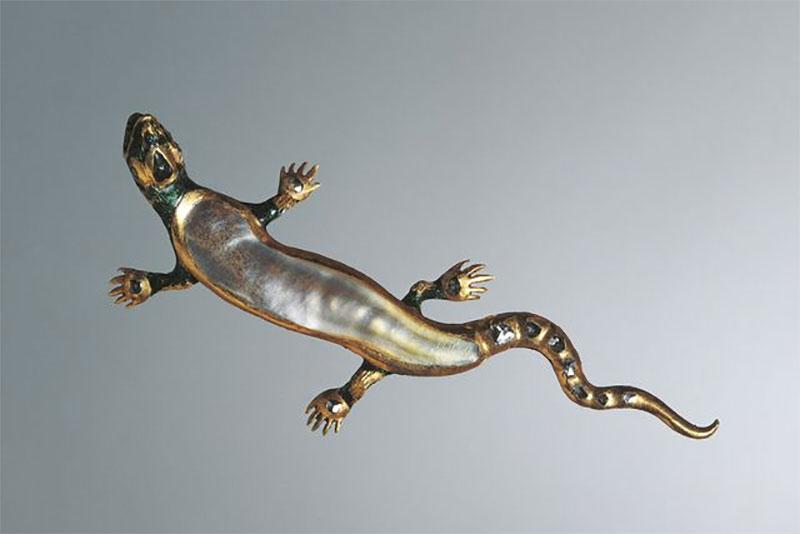 Baroque Pearl Lizard Brooch