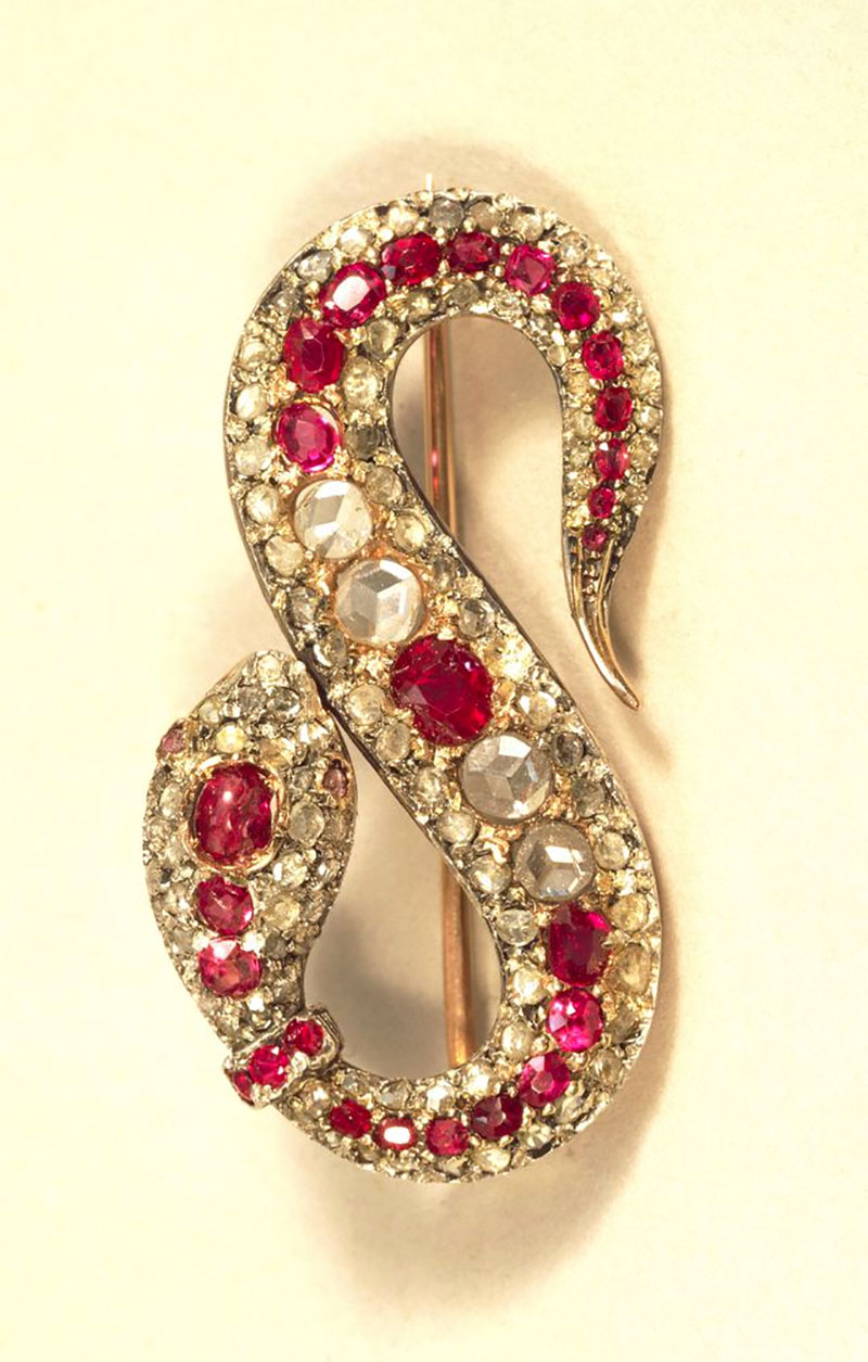 Diamond and Ruby Snake Brooch