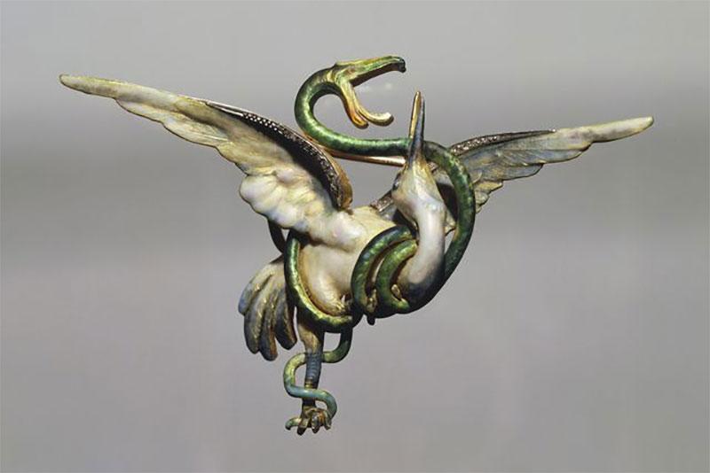 Enamelled Stork and Snake Brooch