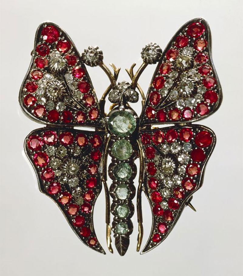 Gemstone Butterfly Brooch