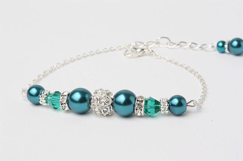 Wedding beads green Emerald bracelet