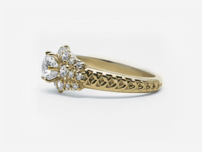Corset Flower Diamond Engagment Ring