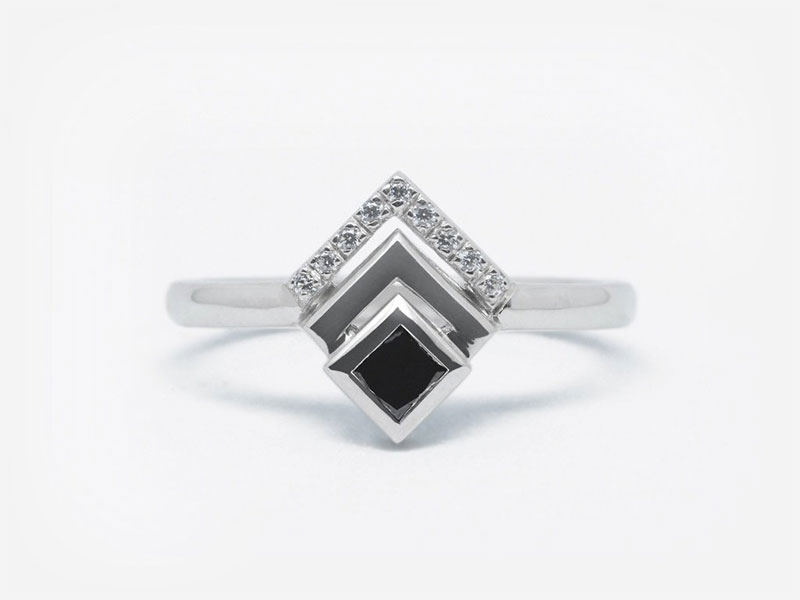 Princess Cut Black Diamond Cascade Ring