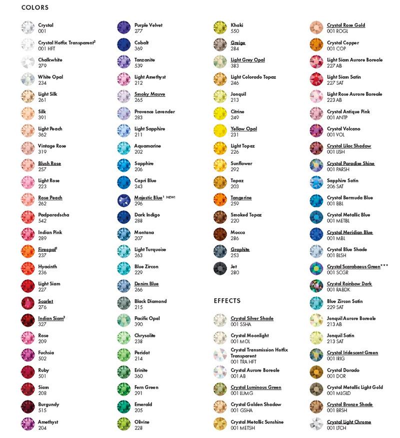 Swarovski Crystal Beads Color Chart