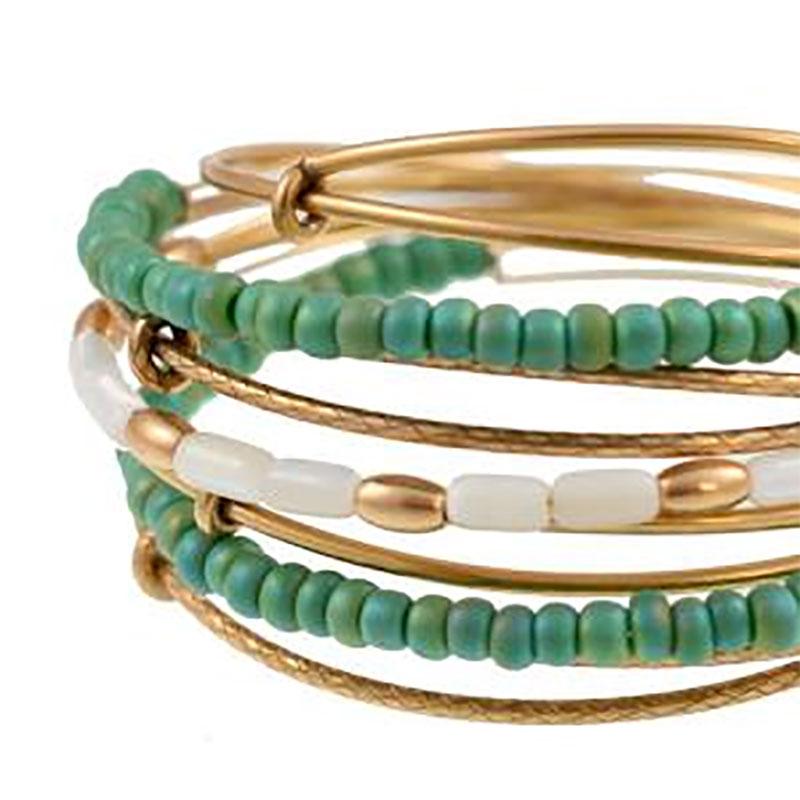 Bohemian Sea Bead Expandable Wire Bangle Set