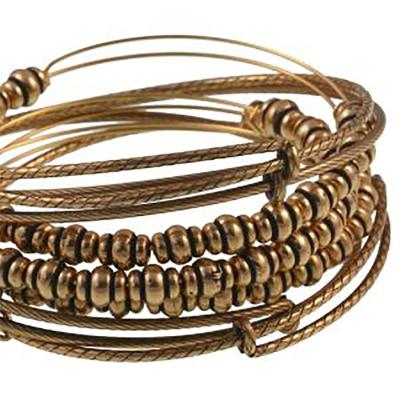 Nile Beaded Expandable Wire Bangle Set