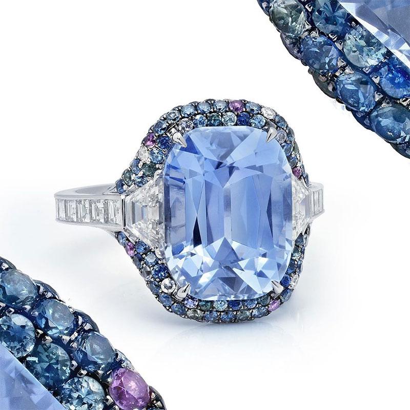 Pastel Blue Cushion Sapphire Ring
