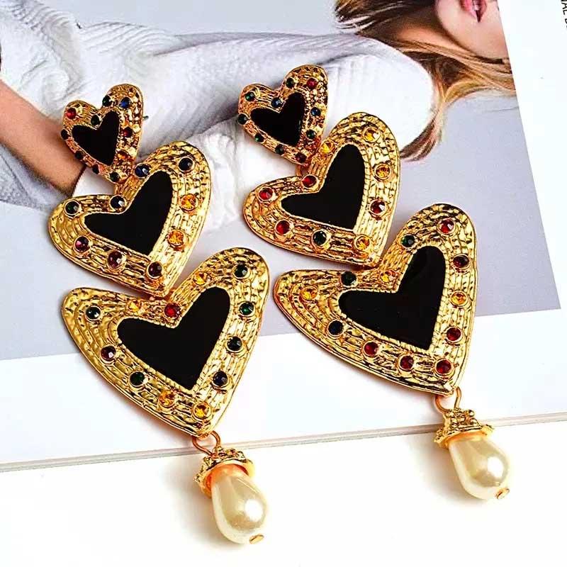 Make a heart multi color black Earrings